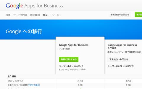 Google Apps 料金表 2012年12月現在