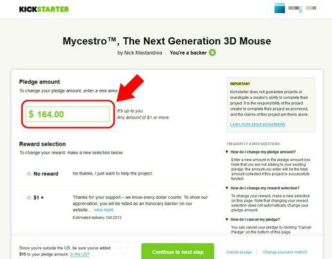 Kickstarter(キックスターター)で出資額を変更する方法