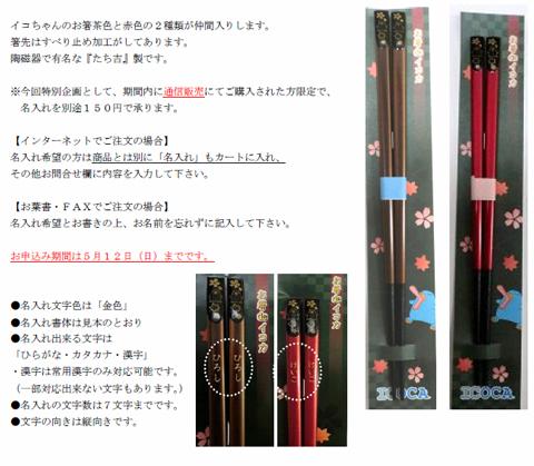 2013年4月 イコちゃんグッズ新商品 お箸deイコカ
