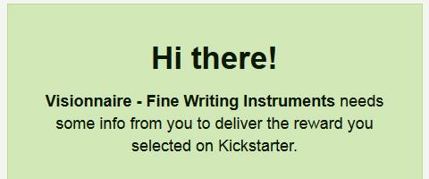 Kickstarter Visionnaireから配送先を聞かれた件